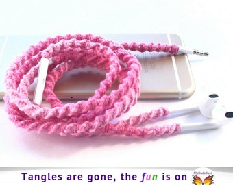iPhone 7 Apple Lightning EarPods Macrame Wrapped Tangle Free Earbuds 4 iPhone, Unique Gift for High School University College Student