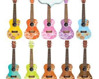 Hawaii ukulele clip art. Hawaiian ukuleles clip art. Hibiscus ukuleles digital images. 10 Colorful flowery ukuleles. Luau party decor