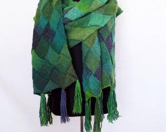 Oversized scarf, green blanket shawl, winter wrap, scarf wool, peacock wrap, big scarf, extra large scarves, knitted unisex hipster scarf