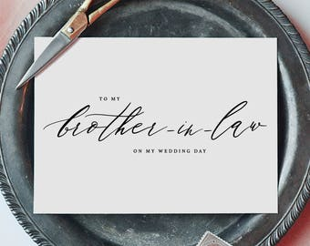 To My Brother-In-Law On My Wedding Day Card, Brother Wedding Card, Wedding Cards, To My Brother Thank You Wedding Card, Wedding Note, K6