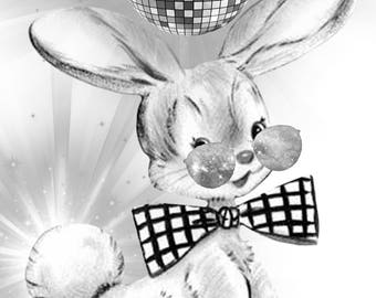 Easter Bunny Disco Ball Dancer Grayscale Coloring Pages Printable Posters 4 Total Posters