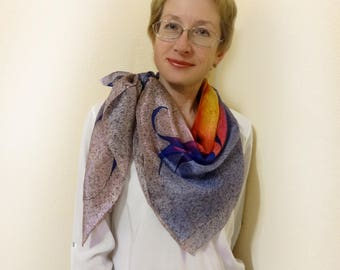 Hand painted silk scarf Large handpainted square scarves shawls Head neck colorful floral shawl Bright multicolor orange yellow purple
