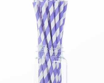 Light Purple Lavender Stripes Paper Straws Set of 25 - Birthday Wedding Bridal Shower - Party Supplies & Decor (PREMIUM quality!)