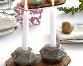Passover gift , Geometric candlesticks, Modern Judaica, pair of Shabbat candlesticks, Gray candle holders,Bat-mitzva gift, Made in Israel