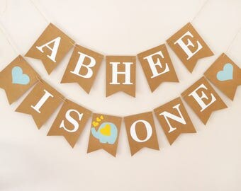Personalised banner 1st birthday, baby boy, baby girl elephant birthday decoration