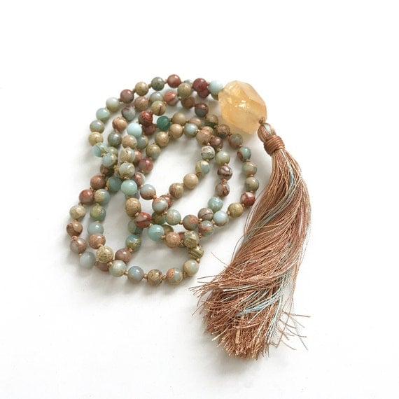 Citrine Mala Beads For Mental and Physical Energy, African Opal Mala Necklace, 108 Bead Mala Necklace, Citrine Guru Bead, Hand Knotted