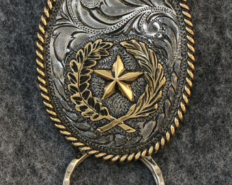 IN STOCK - Unless personalized - Texas Star Key Chain -  Antiqued Engraved Bezel - Antiqued Roping - Keychain for Him or Keychain for Her!
