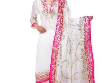 White Color Georgette Palazzo Suit with Gota Patti Embroidery and Pink Border