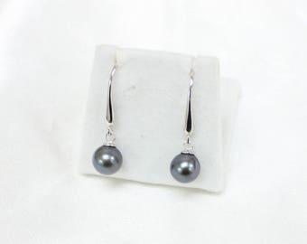 8mm Tahitian Pearls on Hook Sterling Silver Stud Earrings