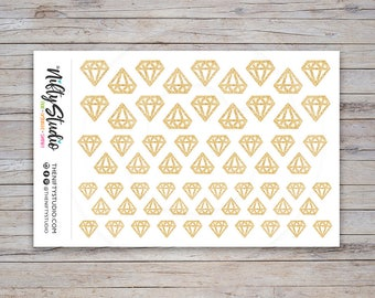 Gold Glitter Diamond Stickers | Planner Stickers | The Nifty Studio [116]