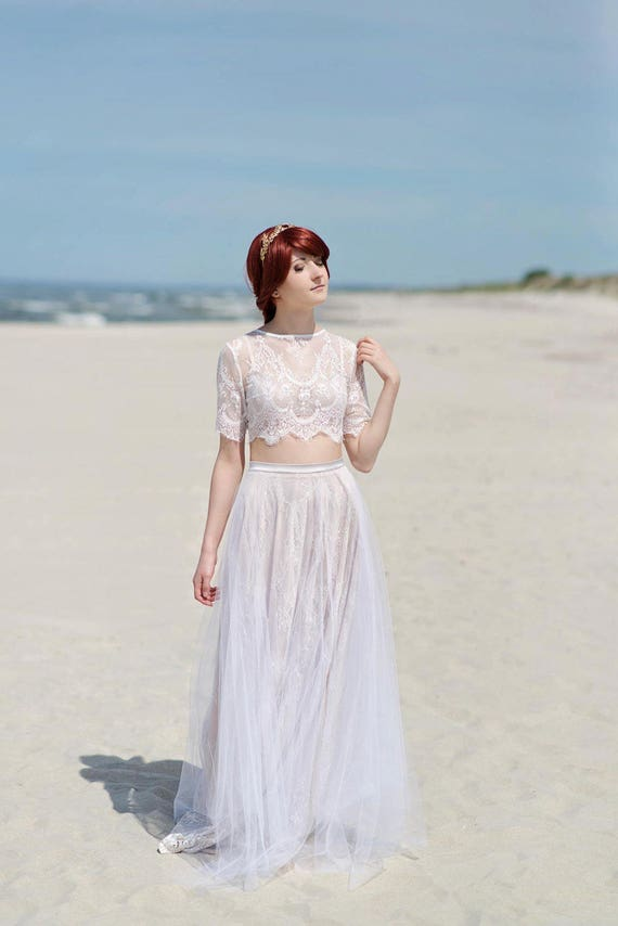 READY TO SHIP: lace skirt / us size 10 / lace and tulle skirt / beach bridal skirt