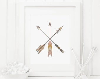 Arrow Printable Tribal Arrows Tribal Nursery Decor Arrow Wall Art Native Decor Southwest Decor Crossed Arrows Arrow Prints Boy Nursery Art