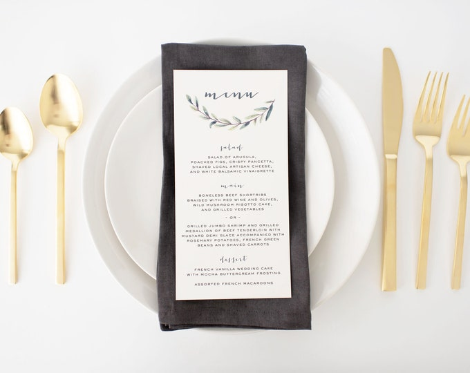 elliot greenery wedding menus  // winery olive branch watercolor rustic eucalyptus greenery custom modern calligraphy wedding menu