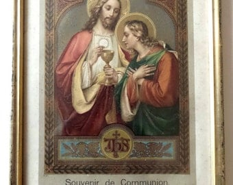 Large 1914 Antique French reliquary. First Communion Souvenir. French framed Religious Communion Certificate. French Religious Decor.