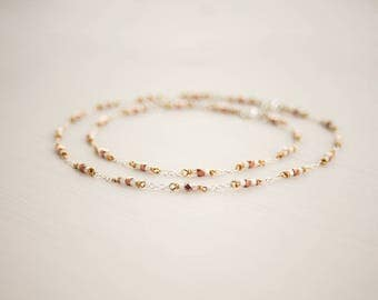 925 necklace and anklet set, Sterling silver, Copper, Glass, Matching set, sparkly necklace, Body jewellery anklets, Christmas gift idea