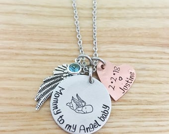 Memorial Necklace - Remembrance Necklace - Sympathy Necklace - Hand Stamped - Mommy to my Angel - Infant Loss - Miscarriage Necklace