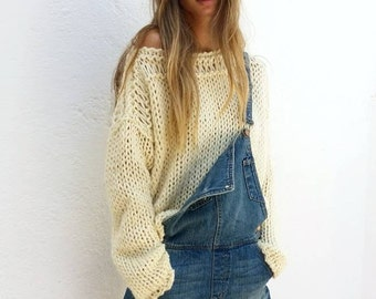 Chunky cream sweater, women sweater, ivory knit sweater, women knit sweater, loose knit, gift for her, wool knit sweater, women knitwear.