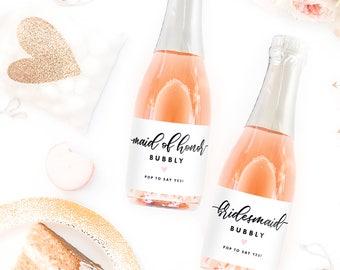 Set of Bridesmaid Bubbly Mini Champagne Labels: Bridesmaid Proposal Box, Will You Be My Bridesmaid Idea, Bride Squad, Bride Tribe, I Do Crew