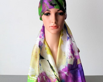 Silk Bandana Boho Head Wrap Scarf Headcovering Cool Bandanas for Women Chemo Gift Cancer Headwear Turban Head Scarf women headband