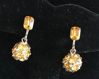 Weiss Citrine Yellow Baguette Round Rhinestone Dangle Screwback Earrings