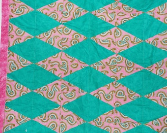 "pink/green diamond quilt 38"" x 36"" infant"