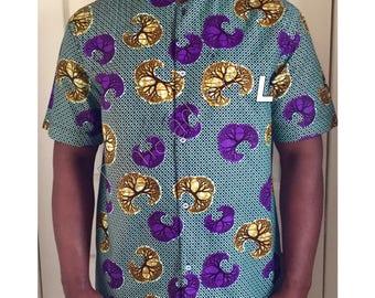 Shirt , short sleeve. African fabric ,African print. Large -men.