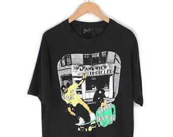90s Neon Skater T-Shirt - 80s/90s Rad Neon Skateboarding The Sandwich Thriller Eat SideWalk T-shirt - 90s Skater Surfer Neon Black T-shirt