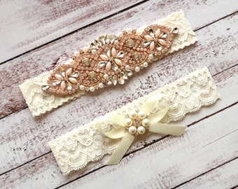 Wedding Garter, NO Slip Lace Wedding Garter Set, bridal garter set, pearl and rhinestone garter set, vintage rhinestones Style A2023