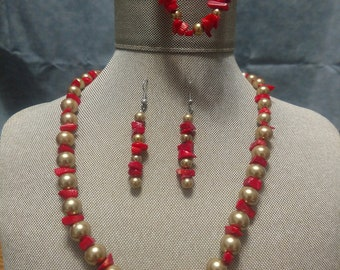 Red Coral and Gold Glass Pears Three Piece Set