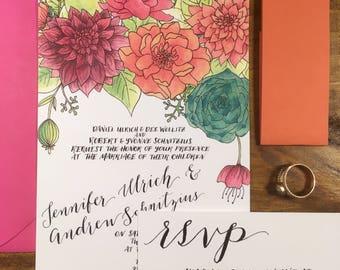 Bright Botanicals Wedding Invitation Suite