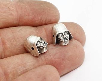 10x12mm Antique Silver Star Wars Charms, Men Bracelet Charms, Skull , Star Wars Beads, Bracelet Connector, KDR196