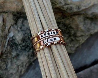 Dainty Rose Gold Name Ring Pink Gold Stacking Rings Mothers Name Rings Personalized Ring New Mom New Baby Gift Minimalist Ring Romantic Gift