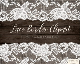 Wedding Lace Clipart. Rustic Lace Border Clip Art. Shabby Chic Lace Frame. Bridal Shower, Wedding Clipart. Cream, White, Black Seamless Lace