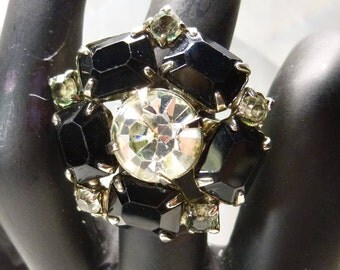 Black And Clear Gem Ring