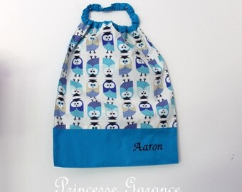 Canteen, school, birthday * bib, napkin, canteen, with elastic at the neck, cotton blue owls - custom