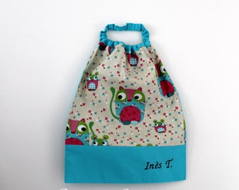 Back to school * bib, napkin, canteen, with elastic at the neck, little mice - custom