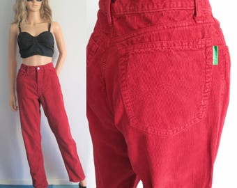 Red corduroy jeans pants trousers, Benetton, cord mom pants, tapered leg, high waisted, vintage retro, waist 30, medium
