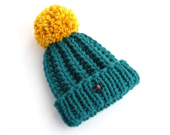 Thick Chunky Knit Teal and Mustard Bobble Hat. Green Blue Pom Pom Hat. Hand Knitted Wool Blend Beanie Hat. Kids Womens or Mens HoBo Handmade