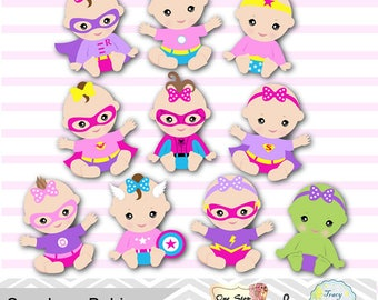 20 Baby Girl Superhero Digital Clipart, Pink Purple Superhero Baby Girl Clip Art, Super Hero Baby Girl Clipart, Superhero Baby Shower 0280