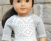 Gray Striped Baseball-Style Tee w/ Lace Overlay for American Girl Dolls