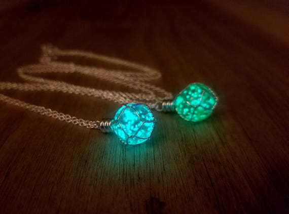 Holy Materia Glow Necklace, Aqua or Green Glowing Orb, Fantasy Wire Wrapped Glowing Planet, Final Production, Dragon Egg, Magic Geek Gift