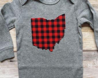 Ohio Bodysuit-Trendy Ohio Baby Gift-Ohio State Tee-Ohio Baby Shower Gift-Ohio Baby Gift-Ohio baby Christmas gift-Ohio Kids Shirt