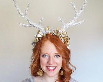 reindeer headband adult, silver antler headband, silver and gold headband, ugly sweater party headband, holiday headband for women, tinsel