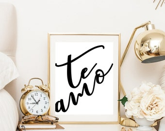 Te Amo, Spanish Quote, Bedroom Wall art, Bedroom Decor, Typography Poster, Printable Art, Love Print, Gift for Her, Black and White