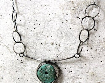turquoise silver necklace, raw rough turquoise pendant necklace