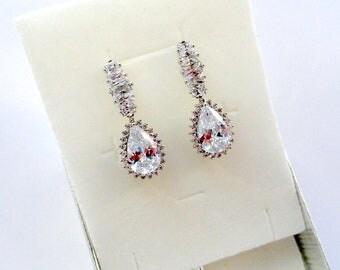 Bridal earrings Wedding jewelry gift Crystal Bridal jewelry Crystal Wedding earrings Long Chandelier earrings Bohemian earrings Teardrop Jm