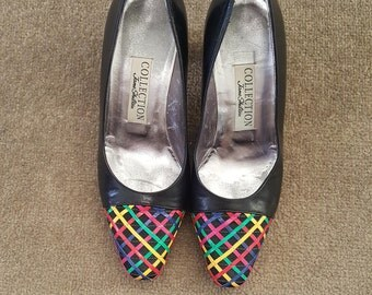 1990s Jane Shilton heels•vintage heels•navy heels•multicoloured heels• UK 36.5