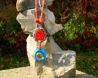 Unique, Original, pendant, wool, long, plastic, stone, glass, Orange, blue, knitting, lightweight, handmade