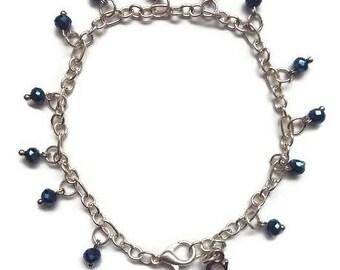 Dainty Dark Blue beaded bracelet with Initial Gift for her Sister Teacher Friend Mom