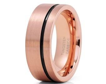 Rose Gold Tungsten Wedding Band Black Tungsten Ring Men & Women Rose Gold Tungsten Ring Anniversary Ring Brush